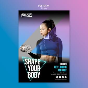 Modèle d'entraîneur de fitness affiche