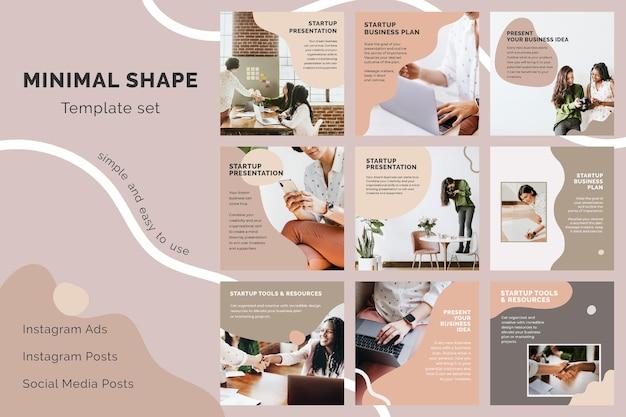 Modèle d'entreprise de démarrage psd défini pour la publication sur les réseaux sociaux