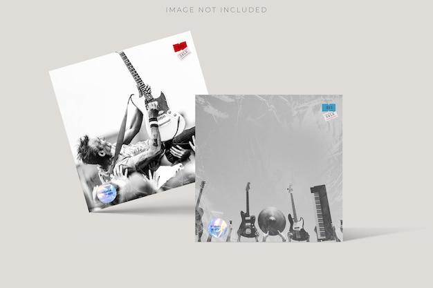 Modèle d'enveloppe de paquet de couverture de disque de cd carré vierge maquette avec effet de superposition de texture de pellicule plastique transparente