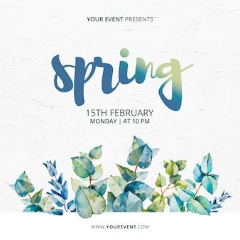 Modèle d'événement de printemps avec des feuilles d'aquarelle