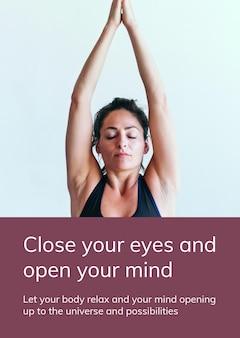 Modèle d'exercice de yoga psd pour un mode de vie sain pour une affiche publicitaire