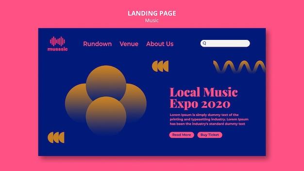 Modèle d'expo de musique de page de destination