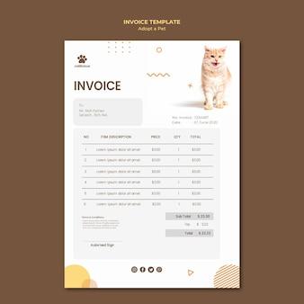 Modèle de facture d'adoption d'animaux de compagnie