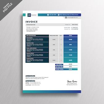 Modèle de facture bleu style moderne