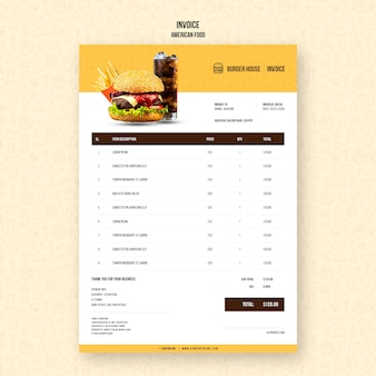 Modèle de facture de cuisine américaine
