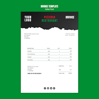 Modèle de facture de cuisine italienne