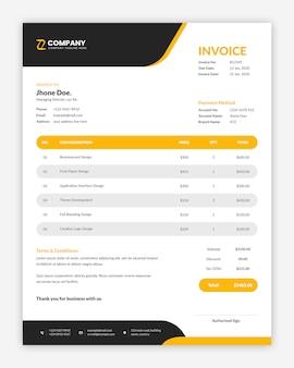 Modèle de facture d'entreprise jaune moderne