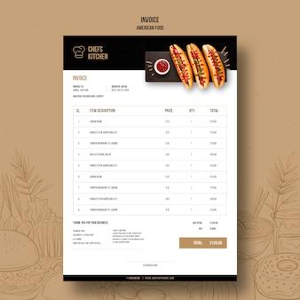 Modèle de facture de hot-dogs classiques américains