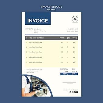 Modèle de facture de magasin de mécanicien