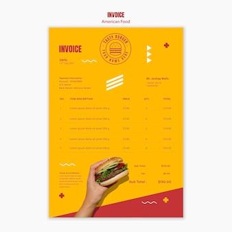 Modèle de facture de nourriture américaine burger