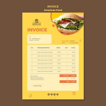 Modèle de facture avec de la nourriture américaine