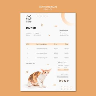 Modèle de facture de paiement pour l'adoption d'un animal de compagnie