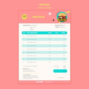 Modèle de facture pour la cuisine américaine avec burger