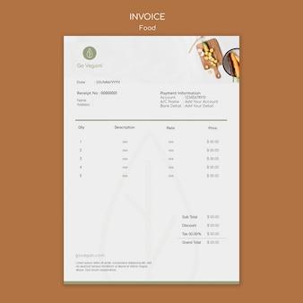 Modèle de facture pour la nourriture végétalienne