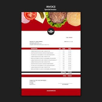 Modèle de facture pour restaurant burger