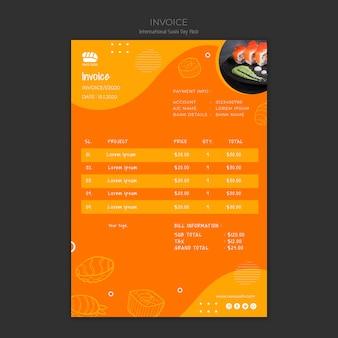 Modèle de facture pour restaurant de sushi