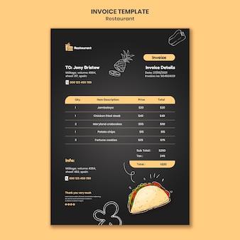 Modèle de facture de restaurant alimentaire