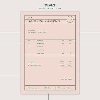 Modèle de facture de restaurant brunch