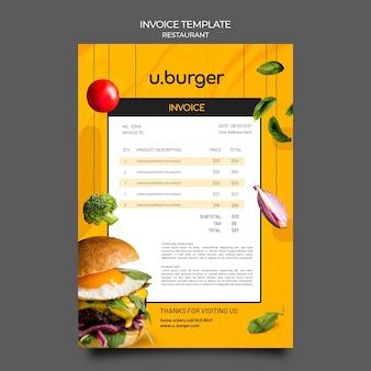 Modèle de facture de restaurant burger
