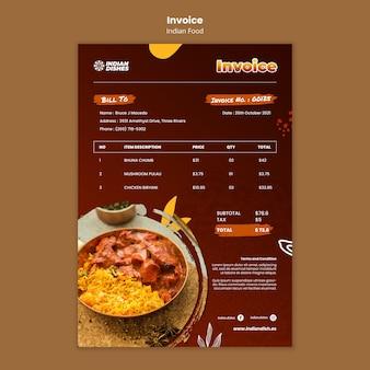 Modèle de facture de restaurant de cuisine indienne