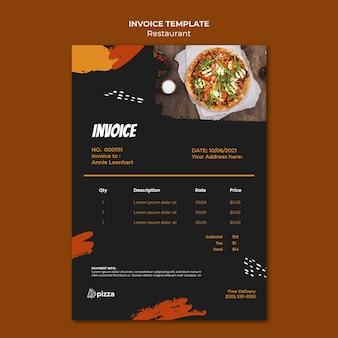 Modèle de facture de restaurant de cuisine italienne