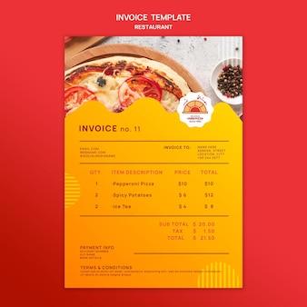 Modèle de facture de restaurant de pizza