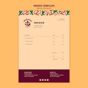 Modèle de facture de restaurant de plats traditionnels mexicains