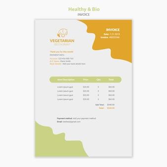 Modèle de facture de restaurant végétarien