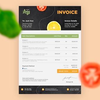 Modèle de facture de restaurant