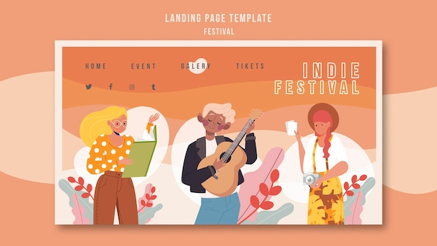 Modèle De Festival De Page De Destination Psd gratuit