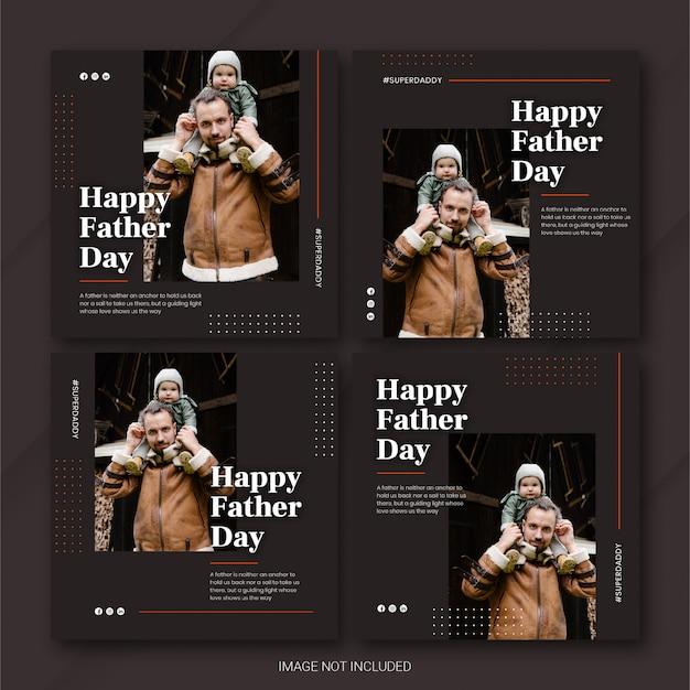 Modèle de fête des pères instagram post bundle
