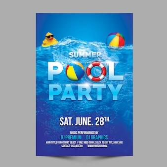Modèle de fête à la piscine d'été