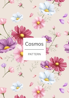 Modèle de fleur cosmos dessinés à la main