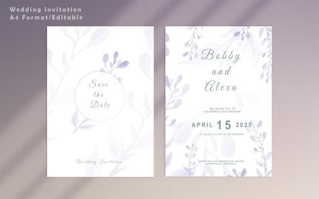 Modèle floral d'invitation de mariage élégant