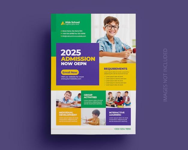Modèle de flyer d'admission à l'éducation scolaire pour enfants