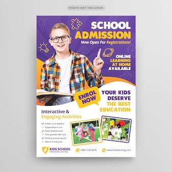 Modèle de flyer d'admission à l'éducation scolaire