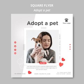 Modèle de flyer avec adopter un animal de compagnie