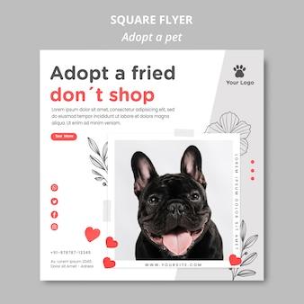 Modèle de flyer avec adopter le concept pour animaux de compagnie