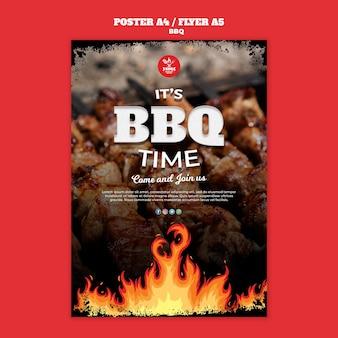 Modèle de flyer d'affiche de concept de barbecue