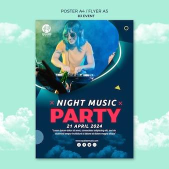 Modèle de flyer d'affiche de concept de fête musicale