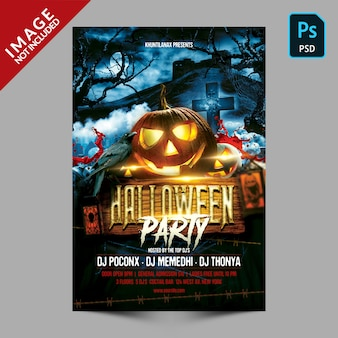 Modèle de flyer ou affiche de fête d'halloween