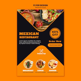 Modèle de flyer alimentaire mexicain
