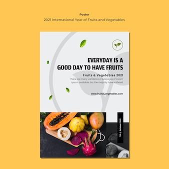 Modèle de flyer de l'année internationale des fruits et légumes
