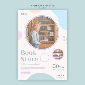 Modèle de flyer d'annonce de librairie