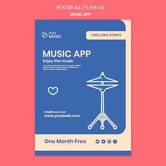 Modèle de flyer d'application de musique