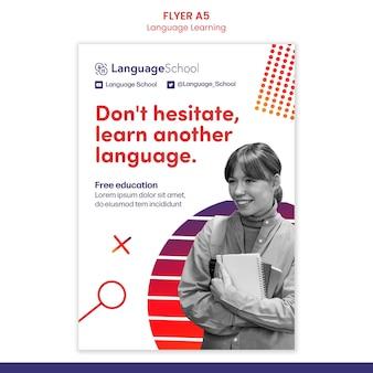 Modèle de flyer d'apprentissage des langues