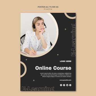 Modèle de flyer d'apprentissage en ligne avec photo
