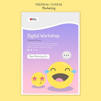 Modèle de flyer d'atelier marketing avec emojis