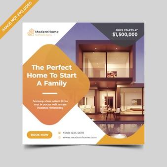 Modèle de flyer ou bannière carré immobilier
