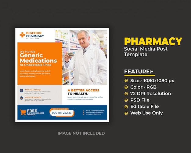 Modèle de flyer de bannière de médias sociaux de pharmacie ou d'écuyer